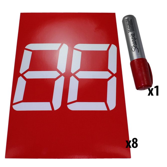 Double Digit 7-Segment Stick-On Bumper Numbers