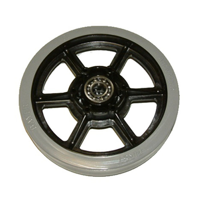 6 in. Rubber Treaded Wheel w/ 1/2 in. Bearings
